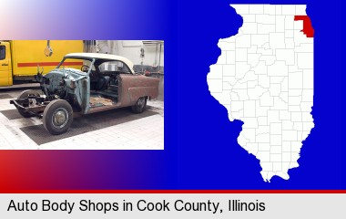 a vintage automobile in an auto body shop; Cook County highlighted in red on a map