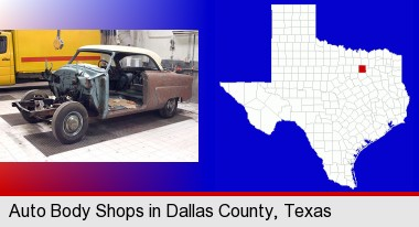 a vintage automobile in an auto body shop; Dallas County highlighted in red on a map