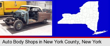 a vintage automobile in an auto body shop; New York County highlighted in red on a map